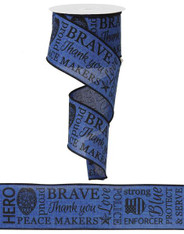 "2.5"" Police Ribbon: Royal Blue/Black"