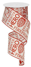 "2.5"" Firefighter Ribbon: White/Red"