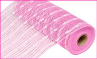 "10.5"" Metallic Snowball Mesh: Pink/White (10 Yards)"