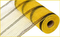 "10.5"" Tinsel Deco Mesh: Metallic Yellow Gold/Black Stripe"