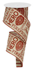 "2.5"" Firefighter Ribbon: Light Canvas/Red"