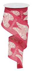 "2.5"" Hope Courage Angel Wing Ribbon: Hot Pink/Wht/Lt Pink Ribbon"