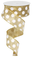 "Gold/White Polka Dot Satin Ribbon - 1.5"" x 10Yds"