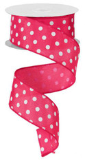 "1.5"" Small Polka Dot Ribbon: Hot Pink/White - 10yds"