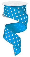 "1.5"" Small Polka Dot Ribbon:Turquoise/White - 10yds"
