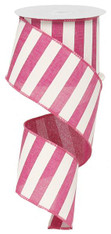 "2.5"" x 10yd Horizontal Stripe Ribbon: Hot Pink/White"