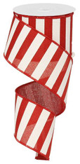 "2.5"" x 10yd Horizontal Stripe Ribbon: Red/White"
