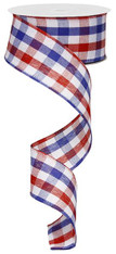 "1.5"" Red White Blue Plaid Ribbon - 10Yds"