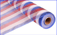 "21"" Deco Poly Mesh: Metallic Red White Blue Striped Patriotic"