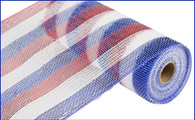"Red White and Blue Striped Metallic - 10"" x 10Yd"