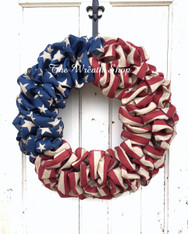 Patriotic Faux Burlap Flag Wreath