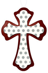 Polka Dot Cross: Crimson/Wht/Grey
