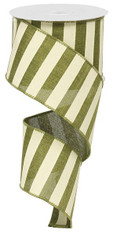 "2.5"" x 10yd Horizontal Stripe Ribbon: Moss Green/White"