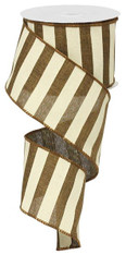"2.5"" x 10yd Horizontal Stripe Ribbon: Brown/Ivory"