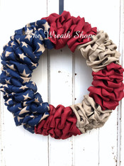 Patriotic Ribbon Flag Wreath
