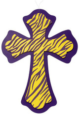 Animal Print Cross: Purple/Yellow