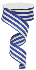 "1.5"" Vertical Striped Ribbon: Roayl Blue/White-10Yds"