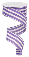 "1.5"" Vertical Striped Ribbon: Purple/White-10Yds"