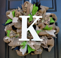 Burlap Monogram Wreath with Black White and Green