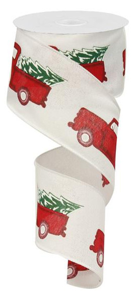 2 5 vintage truck with tree ribbon white rg0156427 for Red ribbon around tree