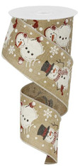 "2.5"" Glitter Snowman Ribbon: Lt Beige - 10 yards"