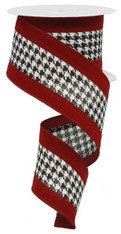 "2.5"" Houndstooth Ribbon w/ Velvet Crimson Borders - 10Yds"