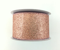 "2.5"" Rose Gold Glitter Ribbon - 10Yds"