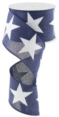 "2.5"" X 10Yds Bold Glitter Star Ribbon: Navy Blue/White"