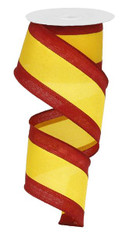 "Satin Tri-Stripe Ribbon: Dk Red/Golden Yellow -  2.5"" X 10Yds"