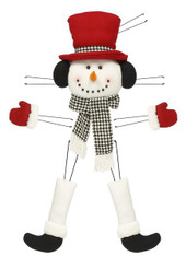 Plush Snowman Wreath Decor Kit: Dk Red/Houndstooth