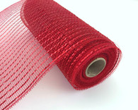 "NEW 10"" Deco Poly Mesh: Metallic Red Wider Foil"