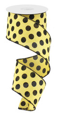 "2.5"" x 10yd Linen Polka Dot Ribbon: Yellow/Black"