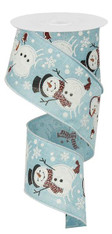 "2.5"" Glitter Snowman Ribbon: Lt Blue - 10 yards"