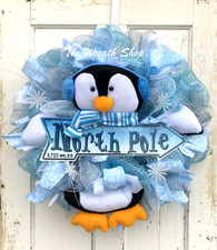 Winter Blue Penguin Wreath