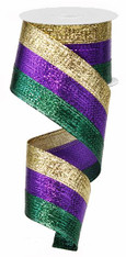 "Metallic Mardi Gras Tri-Stripe Wired Ribbon - 2.5"" x 10yd"