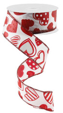 "1.5"" Patterned Hearts Ribbon: Wht/Red - 10Yds"