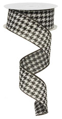 "1.5"" Black & White Houndstooth Ribbon - 10Yds"