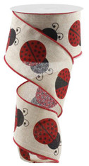 "2.5"" Large Ladybug Ribbon: Nat/Red/Black"