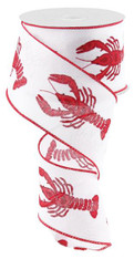 "2.5"" x 10yds Large Crawfish Ribbon: White/Red"