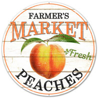 "12"" Farmer's Market Fresh Peaches Sign"