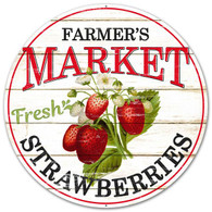 "12"" Farmer's Market Fresh Strawberries Sign"