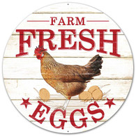 "12"" Farmer's Market Fresh Eggs Sign: Brown/Red"
