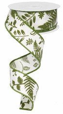 "1.5"" Embroidered Greenery Ribbon: Ivory/Moss Green - 10Yd"