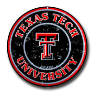 University of Texas Tech Embossed Metal Circular Sign