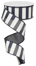 "1.5"" x 10yd Horizontal Stripe Ribbon: Navy/White"