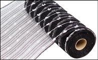 "10.5"" Metallic Snowball Mesh: Black/White (10 Yards)"