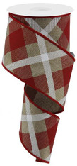"2.5"" Diagonal Plaid Ribbon: Beige/Red/Wht - 10yds"