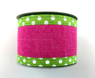 "2.5"" Fuchsia Linen Ribbon - Lime/Wht Dot Edge - 10Yds"