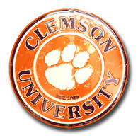 Clemson University Embossed Metal Circular Sign (C-057)