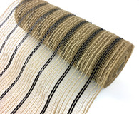 "10"" Poly Jute Mesh: Black Metallic Stripes"